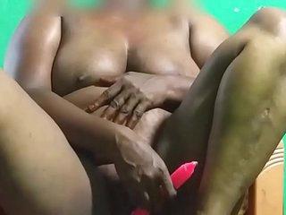 desi  indian tamil telugu kannada malayalam hindi horny vanitha aunty showing big boobs and shaved pussy press hard boobs press nip rubbing pussy in chair masturbation using red  candle